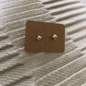 Silvertone Square Earrings
